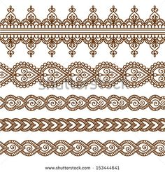 Ornamental seamless borders. Vector set with abstract floral elements in indian style