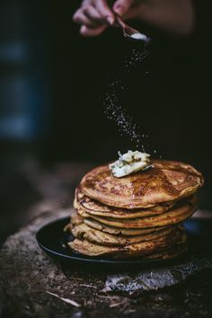 Pumpkin Mascarpone Pancakes with Rosemary Maple Sea Salt Butter | Adventures in Cooking