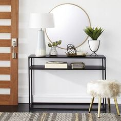 Glasgow Metal Console Table Black - Project - image 6 of 7 Entryway Mirror, Entryway Furniture, Furniture For Small Spaces, Entryway Decor, Entryway Tables, Wall Mirror, Country Entryway, Wall Decor, Entryway Ideas