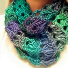"""Forever Young Infinity Scarf - FREE - CROCHET - """"intermediate"""" - almost looks like arm crocheting - made with a large hook!"""