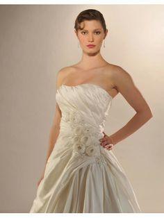 Taffeta Softly Curved Neckline Asymmetrical Side Draped Bodice Ball Gown Wedding Dress