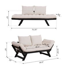 Sofas, Loveseats & Chaises New Black-Cream White, Single Person Convertible Sofa Bed Chaise Lounge Couch Adjustable Padded Sofa Seat Cushions, Sofa Couch Bed, Sofa Seats, Lounge Sofa, Sleeper Couch, White Sofa Bed, White Sofas, Modern Sleeper Sofa, Wood Sofa