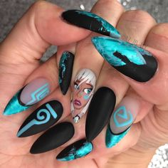 ✨💎Disney's ATLANTiS 💎✨ Handpainted gel nail art- The symbols glow … Disney Acrylic Nails, Disney Nails, Best Acrylic Nails, Gel Nail Art, Dark Nail Art, Crazy Nail Art, Crazy Nails, Dope Nails, Swag Nails