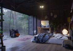 Small home on the water Dmitri Reviakin is a designer and artist, who imagined this little picket home on the water, on a small island in Indonesia. Home Interior Design, Interior Architecture, Aesthetic Rooms, Cozy Room, Cozy Place, Dream Rooms, House Rooms, Cozy House, Bedroom Decor