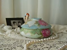Vintage Porcelain Hair Receiver Nippon Shabby Hand Painted