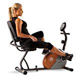 Marcy recumbent exercise bike has a compact design and smooth magnetic resistance. The user friendly computer tracks, speed, time, distance and calories burned. The bike also feature eight preset manual resistance levels and a step through de...