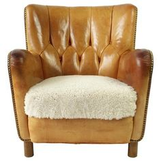 Leather Lounge Chair attributed to Flemming Lassen - Lawton Mull Grey Chair, Sofa Chair, Leather Club Chairs, Leather Lounge, Outdoor Lounge Chair Cushions, Lounge Chairs, Adirondack Chair Plans Free, Hanging Chair From Ceiling, Childrens Rocking Chairs