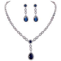 EVER FAITHΒ® Women's CZ Elegant Figure 8 Infinity Tear Drop Necklace Earrings…