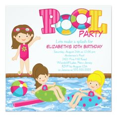 Pool Party Invitations Brunette Girl Birthday Pool Party Invitation