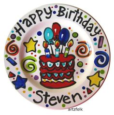 Beautiful colorful Handmade party cake time ceramic plate designed by ©Artzfolk personalized with name or saying Dimensions: 7 or 10 size available This piece is original art pottery and design by licensed tabletop designer N. Pottery Painting Designs, Pottery Art, Pottery Ideas, Crafts For Teens To Make, Crafts To Do, Birthday Plate, 2nd Birthday, Happy Birthday, Custom Plates