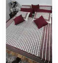 Heritage Fabs Kalmkari Cherry Double Bed Cover Set With 2 Pillow Covers