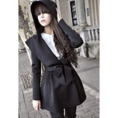 $18.59 Graceful Long Sleeves Solid Color Hooded Coat With Belt For Women