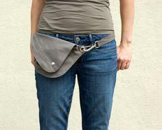 Belt Bag in Gray Cotton : Fanny Pack, Hip Bag