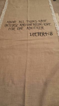 Burlap and Lace Aisle Runner with bible verse (LOVE the Bible verse... different runner, though) Christian Wedding Ceremony, Wedding Ceremony Readings, Christian Marriage, Christian Quotes, Wedding Bible Verses, Wedding Quotes, Wedding Signs, Marriage Vows, Love And Marriage