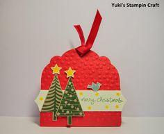 スタンピンアップ ラベルコレクション ダイでクリスマスのトリートホルダー! Christmas Treat Holder using Label Collection die, Stampin' Up