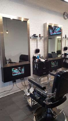 The Shave Bar & Barber Shop - In Station Television by Salon Interiors
