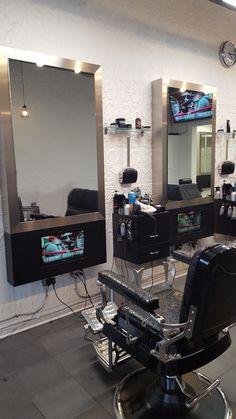 The Shave Bar & Barber Shop - In Station Television by Salon Interiors Barber Shop Interior, Barber Shop Decor, Barbershop Design, Barbershop Ideas, Salon Stations, Bungalow House Plans, Home Salon, Salon Design, Design Furniture