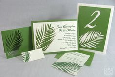 Palm Leaf Laser Cut Wedding Invitation Suite by quaddeucedesign