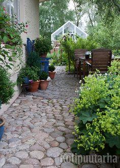 Ruukkukasvit pehmentävät kauniisti seinänviertä ja lisäävät oleskelupaikan viihtyisyyttä.
