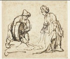 Page of Boaz Casting Barley into Ruth's Veil by REMBRANDT Harmenszoon van Rijn in the Web Gallery of Art, a searchable image collection and database of European painting, sculpture and architecture Rembrandt Drawings, Rembrandt Etchings, Amsterdam, Leiden, Web Gallery, Dutch Painters, Old Master, Gravure, Art Reproductions