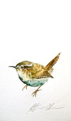 "Watercolor Painting, Original Bird Painting, Wren, 6.5""x11"""