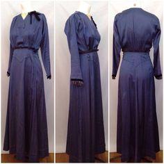 Edwardian Navy Blue Day Dress, circa 1910-1912 via Etsy | Measurements: 32-25-38