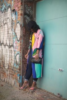 CHAY_IS_CHIC: Floral Abstract Jacket | Dark Denim | Pink Sandal
