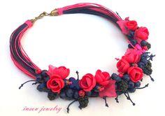Collier collier de fleurs fleur bijoux bijoux rose par insoujewelry