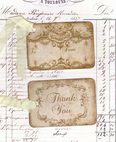 Vintage Tags To From and Thank You tags Shabby
