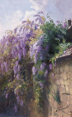 Глициния репродукция для интерьера картина глициния маслом в живописи пейзаж с глицинией глициния на изгороди