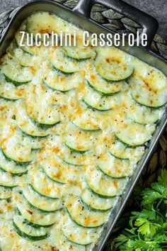 This creamy cheesy Baked Zucchini Casserole is made with fresh zucchini rich cream and lots of cheese for the ultimate zucchini bake It is an easy summer vegetable casser. Veggie Side Dishes, Vegetable Dishes, Food Dishes, Side Dish Recipes, Vegetable Recipes, Vegetarian Recipes, Cooking Recipes, Healthy Recipes, Zucchini Casserole
