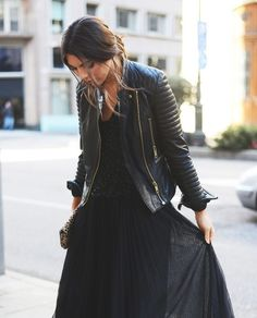 For a chic twist, pair a leather jacket with your dress.