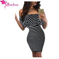 Dear Lover Striped Dresses Summer Slash Neck Black White Women Off-shoulder Bodycon Dress Vestidos Listrado Curto Cheap LC22792