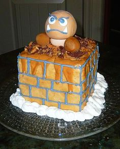 super mario brothers goomba cake with peanut butter frosting