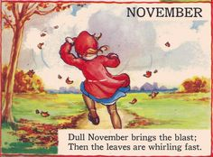 November from The Bumper Book 1946 - illustrator Eulalie Banks Images Vintage, Vintage Cards, Vintage Postcards, Banks, Material Didático, Pomes, Rhymes For Kids, Children Rhymes, Autumn Art