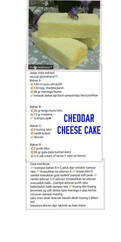 Cheddar chese cake Pastry Recipes, Baking Recipes, Cheesecake Recipes, Dessert Recipes, Bolu Cake, Jelly Cream, Cake Oven, Malaysian Dessert, Resep Cake