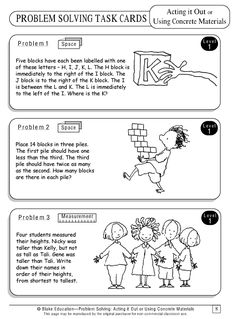 Abstract problem solving task cards: act it out or use concrete materials strategy Math Problem Solver, Problem Solving Activities, Math Words, 4th Grade Math, Grade 3, Math Word Problems, Homeschool Math, Elementary Math, Math Classroom