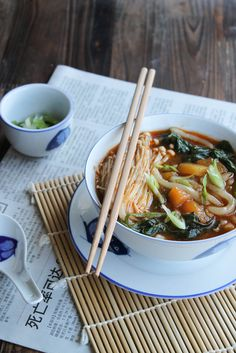 Soup of udon noodles with vegetables {vegan} Vegan Recipes Easy, Organic Recipes, Veggie Recipes, Asian Recipes, Vegetarian Recipes, Cooking Recipes, Ethnic Recipes, Noodle Recipes, Udon Noodle Soup