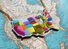 Map of USA Hand Embroidered Necklace by ilgattoselvatico, $68.00