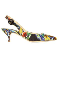 Dolce & Gabbana Brocade Maiolica Patterned slig back pumps - nice with an all black outfit