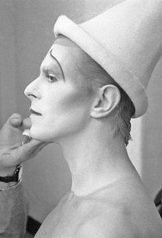 """David Bowie - in make up for the photo session for """"Scary Monsters"""" album cover....April 1980"""