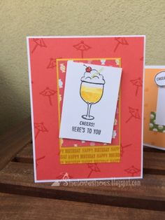 Stampin Up catalogue C.A.S.E. I must say, I've been lacking in the inspiration department lately. But thankfully we have the catalogue to help with that. On page 153 it's shows some cards made using the Mixed Drinks stamp set. Here I've used those for inspiration! Wine Drinks, Cocktail Drinks, Beverages, Stampin Up Catalog, Stamping Up, Recipe Cards, Stampin Up Cards, Birthday Cards, Congrats Cards