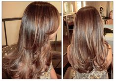 well blended brunette color with caramel highlights fixed brassy highlights color correct brown layers