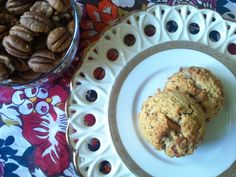 Gotta try these.....  Gluten Free Cinnamon Pecan Scones        2 eggs      1/4 cup oil or melted butter      2 tablespoons honey      1 cup almond flour, packed      2 tablespoons coconut flour, packed      1/2 teaspoon baking soda      1/2 teaspoon cinnamon      1/2 cup chopped pecans         Preheat oven to 325.      Whisk together eggs, oil, and honey.      Add all dry ingredients except pecans.  Combine well.      Stir in pecans.      Scoop and bake for 20-25 minutes.       Serve warm or…