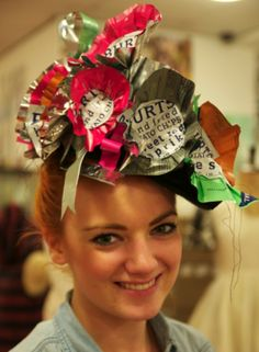Recycled crisp packets into a beautiful head piece.... I could possibly create the same idea by melting plastic bags together