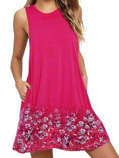 1038745a94c79 Buy Shirt Dress Summer Dresses For Women at JustFashionNow. Online Shopping  Justfashionnow Shirt Dress Long Sleeve Sundress Holiday Shift Crew Neck  Casual ...