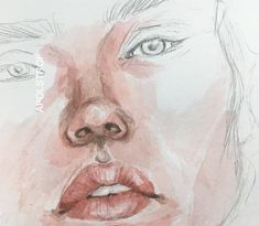 painting @apolstrof on instagram Pink face girl watercolor portrait
