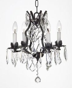 Swarovski Crystal Trimmed Chandelier Wrought Iron Crystal Chandelier Lighting X - Crystal Chandelier Lighting, Empire Chandelier, Rectangle Chandelier, Mini Chandelier, Chandelier Shades, Kitchen Chandelier, Gallery Lighting, Lighting Ideas, Wrought Iron Chandeliers