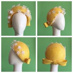 Featuring 4 of the seasons millinery trends; bows, veiling, back of the head placement and bold colour! Stand out in the crowd with this gorgeous canary yellow pillbox trimmed with a white veiling. Available through the website in bio Oaks Day, Spring Carnival, Bold Colors, Veil, Crowd, Seasons, Colour, Trends, Hats