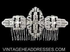 Exceptionally beautiful wide art deco comb, created from 1930's duette pieces and a 1930's brooch. This intricate design features masses of sparkling clear baguette, marquise and pave-set stones. Design measures 11.75cms wide, set on an 8.5cms wide comb. A gorgeous statement piece which will become a true heirloom.